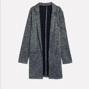 H&M // Long Jacket- Black Marl